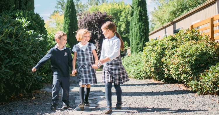 three kids walking Association of Classical Christian Schools (ACCS)