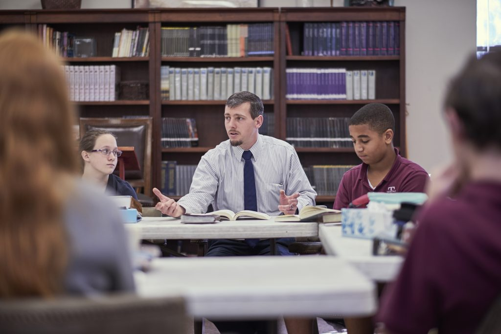 Teacher Leads Socratic Discussion in Classical Christian Classroom