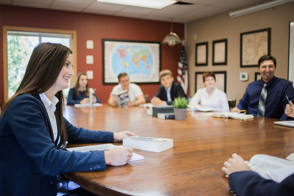 Student In Socratic Discussion at Classical Christian School